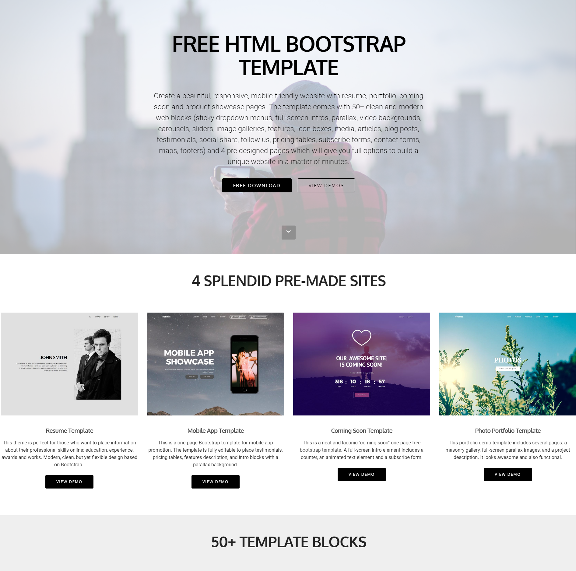 CSS3 Bootstrap 4 Blocks Themes