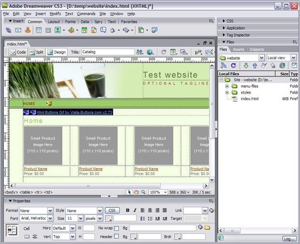 Design mode in Dreamweaver