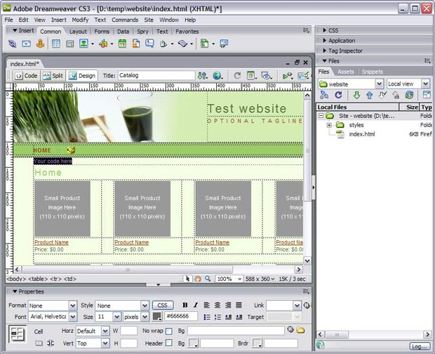 Insert menu in Dreamweaver