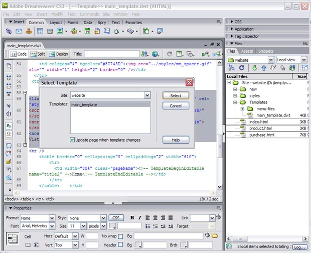Attach Template in Dreamweaver